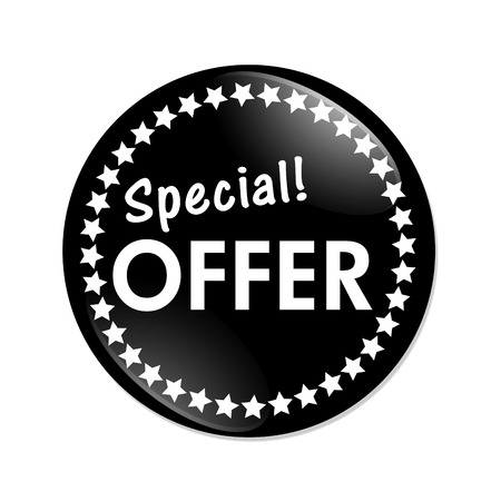 Special Offer Button , A black and white button with words Special Offer isolated on a white background Stock fotó