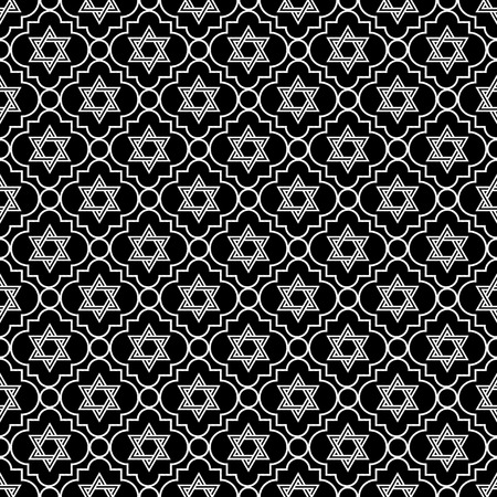 Black and White Star of David Repeat Pattern Background that is seamless and repeats photo