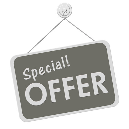 A gray and white sign with the word Special Offer isolated on a white background, Special Offer Sign Stock Photo