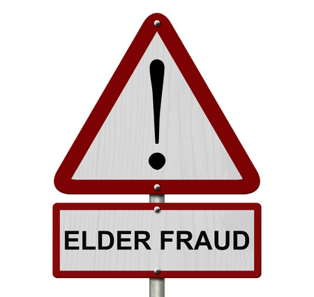 Elder Fraud Caution Sign, Red and White Triangle Caution sign with word Elder Fraud isolated on white photo