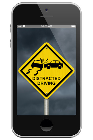 online safety: Warning of Distracted Driving, Mobile Phone Warning of Distracted Driving Sign isolated on a white background