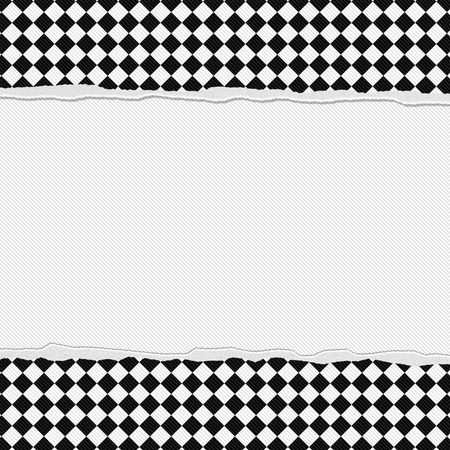 Black and White Checkered Frame with Torn Background with center for copy-space