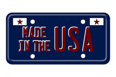 plaque immatriculation: Les mots Fabriqu� aux Etats-Unis sur une plaque d'immatriculation bleue isol� sur blanc