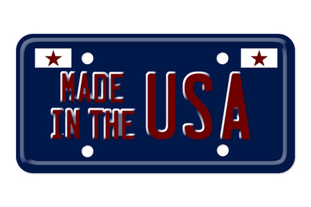 The words Made in the USA on a blue license plate isolated on white photo