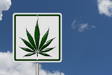 under the influence: Driving Under the Influence of  Marijuana, A road highway sign with a marijuana leaf with sky background