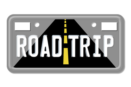 Road Trip, The words Road Trip on a gray license plate isolated on white photo