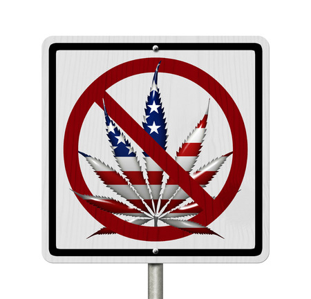 under the influence: Driving Under the Influence of  Marijuana, A road highway sign with a marijuana leaf in USA flag colors isolated on white Stock Photo