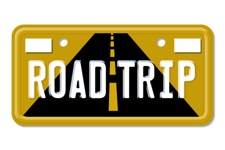 Road Trip, The words Road Trip on a yellow license plate isolated on white photo