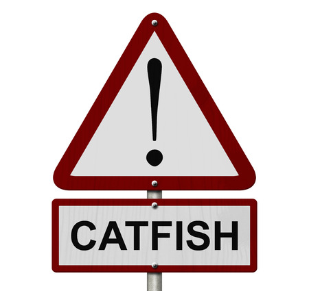 Catfish Caution Sign, Red and White Triangle Caution sign with word Catfish isolated on white photo