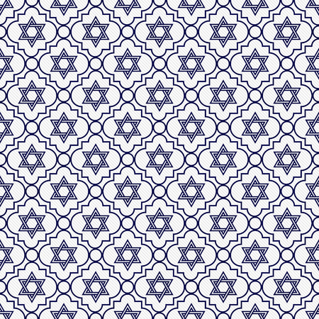 navy blue background: Navy Blue and White Star of David Repeat Pattern Background that is seamless and repeats Stock Photo