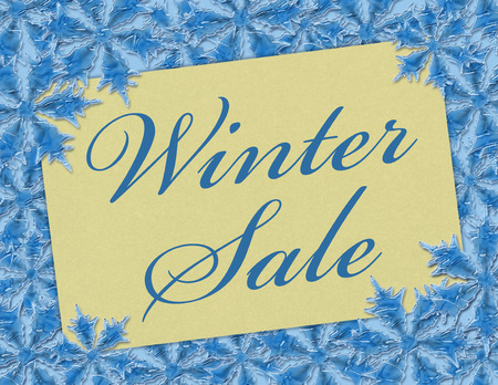 A Winter Sale card, A Card with words Winter Sale over blue snowflakes