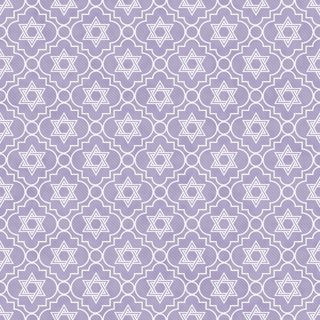 Purple and White Star of David Repeat Pattern Background that is seamless and repeats photo