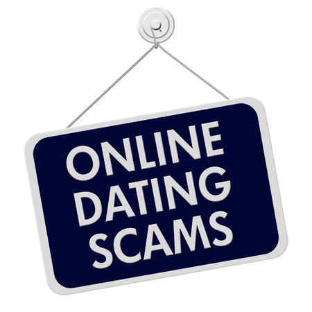 A blue and white sign with the words Online Dating Scam isolated on a white background photo