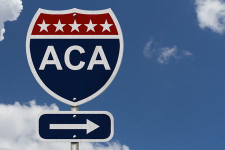 ACA Sign, A red, white and blue highway sign with words ACA and an arrow sign with sky background Archivio Fotografico