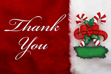 Thank You, A plush red stocking with a Candy Canes and words Thank You photo