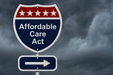 affordable: Affordable Care Act Sign, A red, white and blue highway sign with words Affordable Care Act and an arrow sign with stormy sky background