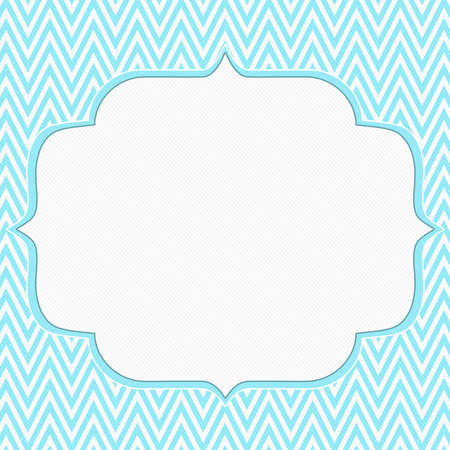 retro background: Teal and White Chevron Zigzag Frame Background with center for copy-space, Classic Chevron Zigzag Frame