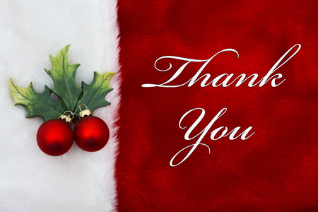 Thank You, A plush red stocking with a Mistletoe Ornament and words Thank You