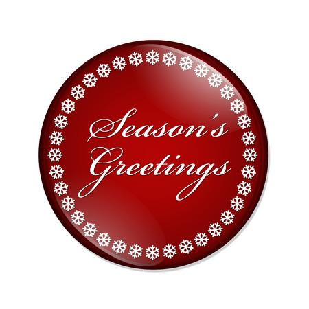 Groeten Button seizoen, Een rode knop met sneeuwvlokken met Groeten woorden Season's geïsoleerd op een witte achtergrond