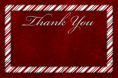 A Thank You card, A Candy Cane border with words Thank You over red plush background with copy-space
