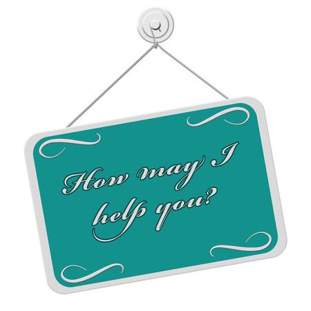 rectángulo: ¿Cómo puedo ayudarle señal, un signo verde azulado y blanco con las palabras ¿Cómo puedo ayudarle signo aislado sobre un fondo blanco Foto de archivo