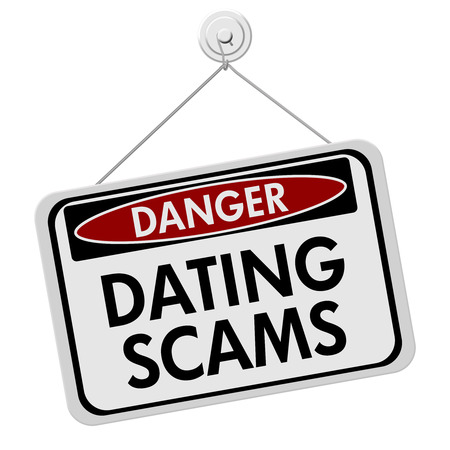 Dangers of Dating Scams Sign, A red and black danger sign with the words Dating Scams isolated on a white background