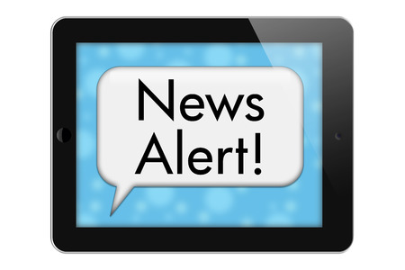 News Alerts, Tablet with words News Alert in Text Bubble isolated on a white background photo
