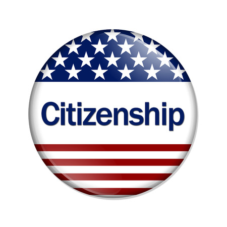 immigrants: Citizenship Button , A white button with red stripes and stars with word Citizenship isolated on a white background Stock Photo