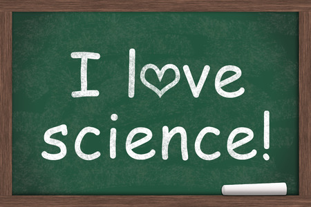 i like my school: I love science, I love science written on a chalkboard with a piece of white chalk