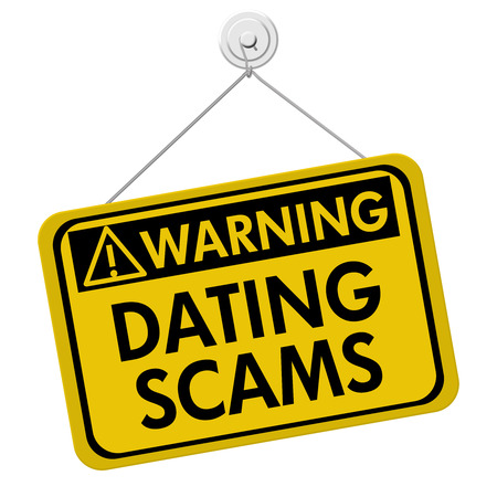 Warning of Internet Dating Scams Sign, A yellow and black warning sign with the words Internet Dating Scams isolated on a white background