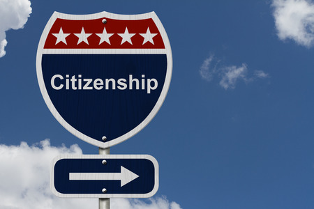 citizenship: Citizenship this way sign, Blue, Red and White highway sign with words Citizenship with sky background Stock Photo