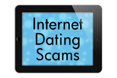 Internet Dating Scams, Tablet with words Internet Dating Scams in Text isolated on a white background