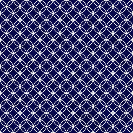 Navy and White Interlocking Circles Tiles Pattern Repeat Background that is seamless and repeats 写真素材