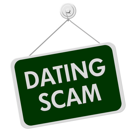 A green and white sign with the words Dating Scam isolated on a white background photo