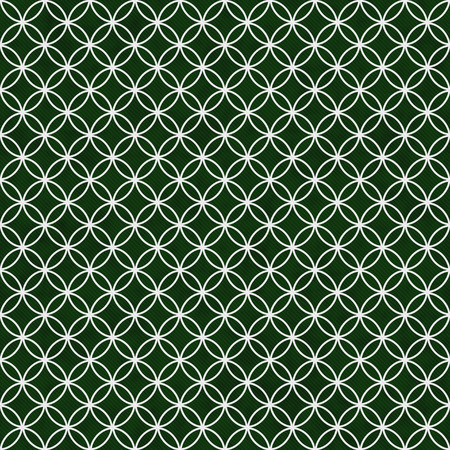 interconnected: Green and White Interlocking Circles Tiles Pattern Repeat Background that is seamless and repeats Stock Photo