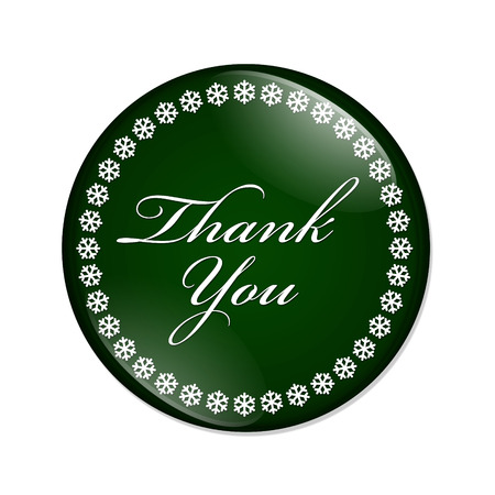 overwhite: Thank You Button, A  green button with snowflakes with words Thank You isolated on a white background
