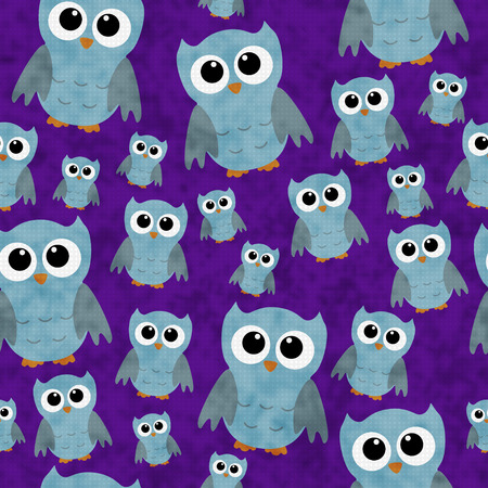 repeats: Blue Owls on Purple Textured Fabric Pattern Background that is seamless and repeats