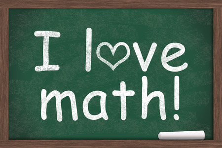 i like my school: I love math, I love math written on a chalkboard with a piece of white chalk