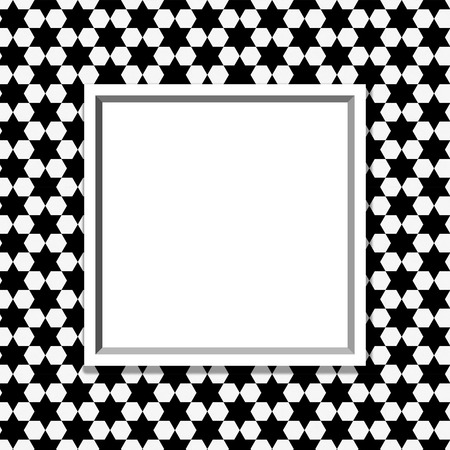 Black and White Hexagon Background with Frame with center for copy-space, Classic Hexagon Background photo