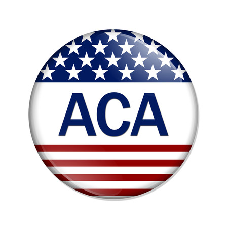 affordable: Affordable Care Act Button , A white button with red stripes and stars with words ACA isolated on a white background Stock Photo
