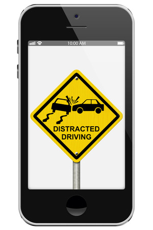 distracted: Warning of Distracted Driving, Mobile Phone Warning of Distracted Driving Sign isolated on a white background