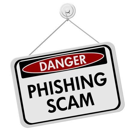 フィッシング詐欺の危険の印、赤と白、白い背景で隔離されたフィッシング詐欺言葉で署名します。
