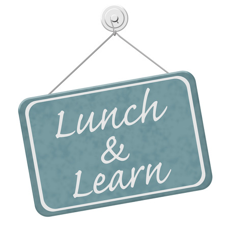 almuerzo: Lunch and Learn se�al, una se�al azul con la palabra Lunch and Learn aislado en un fondo blanco