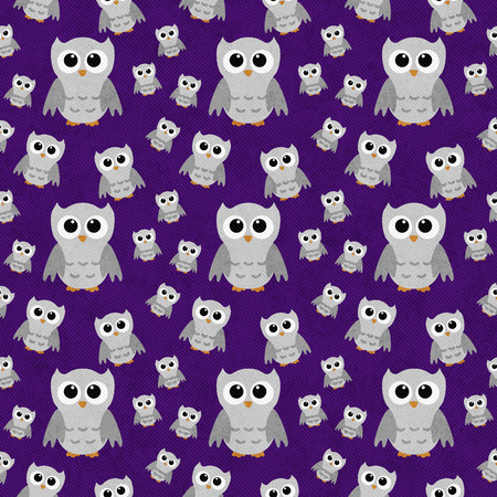 repeats: Gray Owls on Purple Textured Fabric Pattern Background that is seamless and repeats