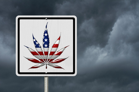 dui: Driving Under the Influence of  Marijuana, A road highway sign with a marijuana leaf in USA flag colors with stormy sky background