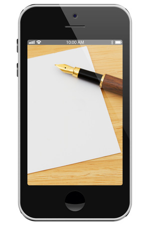 overwhite: Taking notes with cell phone, Cell Phone with photo of pen and card isolated on a white background