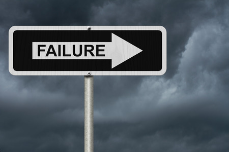 failure sign: The way to failure, Black and white street sign with word Failure with stormy sky background Stock Photo