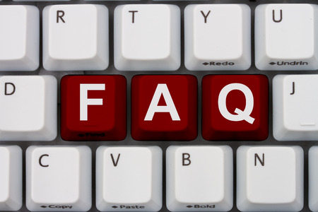 website words: Getting the FAQs online, A gray computer keyboard with the word FAQ in red letters