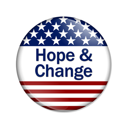 alter: Hope and Change Button , A white button with red stripes and stars with words Hope and Change isolated on a white background