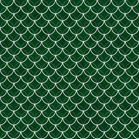 interlocking: Green and White Shells with Interlocking Circles Tiles Pattern Repeat Background that is seamless and repeats Stock Photo